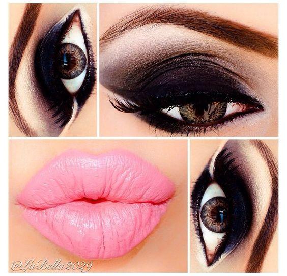 Black And Pink Kiss Makeup: Pink Lips Black Eyeshadow