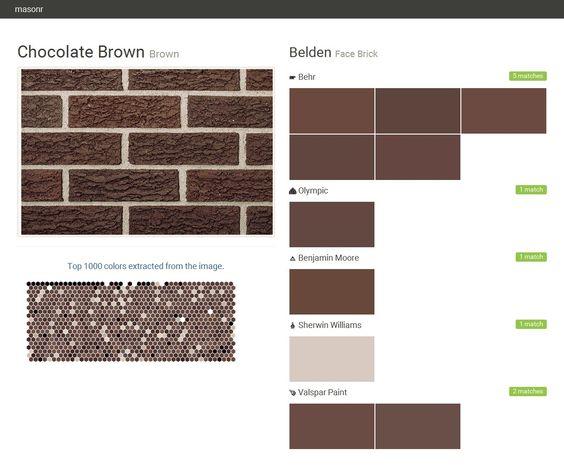 chocolate brown brown face brick belden behr olympic benjamin moore sherwin williams. Black Bedroom Furniture Sets. Home Design Ideas
