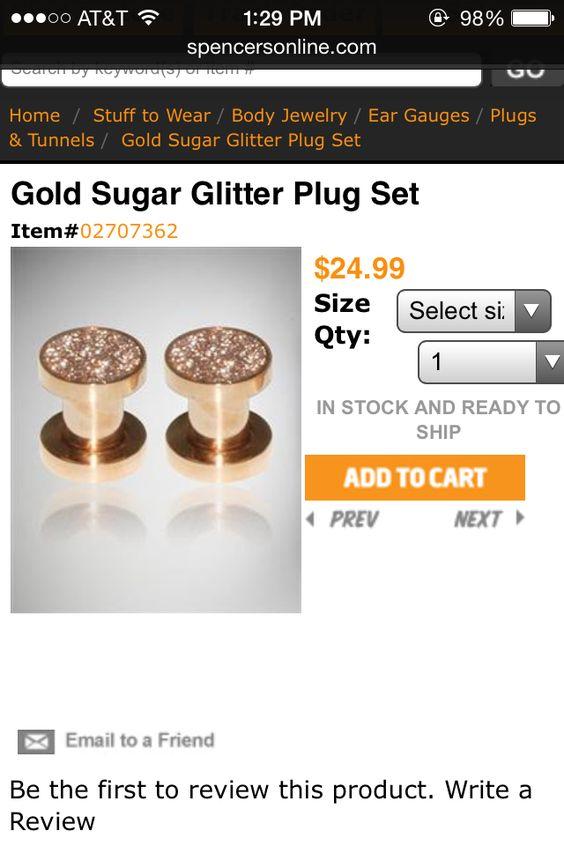 Found on google images- Gold sugar glitter plug set