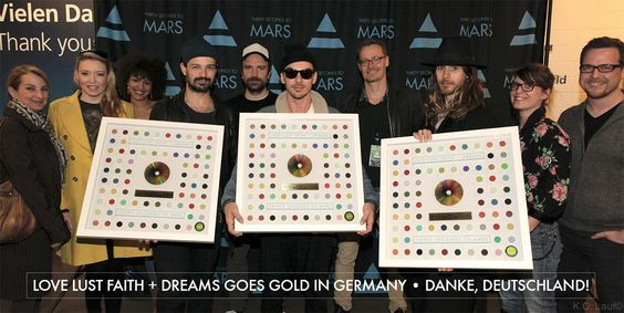 TOUR PIC OF THE DAY: MARS WITH LOVE LUST FAITH + DREAMS GOLD RECORDS IN GERMANY! .- 24-02-2014 (via http://www.thirtysecondstomars.com/tour/2014/02/25/tour-pic-of-the-day-mars-with-love-lust-faith-dreams-gold-records-in-germany/