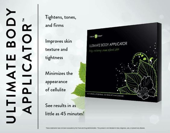 "TIGHTNESS, TONES AND FIRMS. Expect ""ultimate"" results with this amazing 45-minute body Applicator! The Ultimate Body Applicator is a non-woven cloth wrap that has been infused with a powerful, botanically-based formula to deliver maximum tightening, toning, and firming results where applied to the skin.  Tightens, tones, & firms Minimizes cellulite appearance Improves skin texture & tightness Mess-free and simple to use Results in as little as 45 minutes Progressive results over 72 hours…"