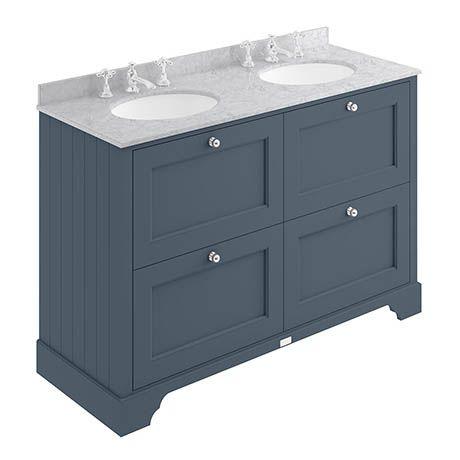 Bayswater Stiffkey Blue 1200mm 4 Drawer Vanity Unit 3th Grey Marble Double Bowl Basin Top Vanity Units Blue Bathroom Vanity Blue Bathroom Interior