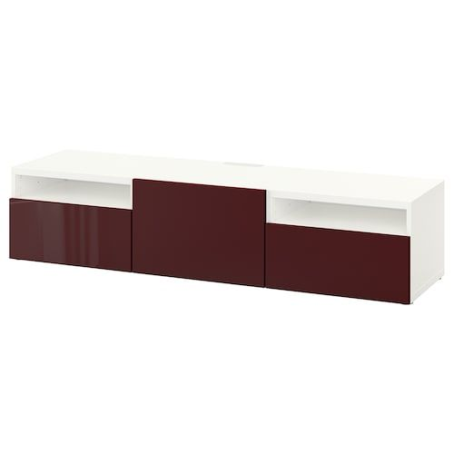 Besta Burs Tv Unit High Gloss White 70 7 8x16 1 8x19 1 4 Ikea In 2020 Tv Bench Dark Red Brown Tv Unit
