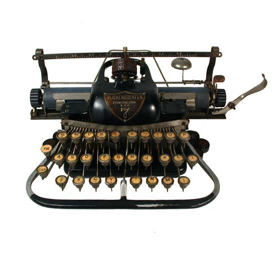 A spectacular Blickensderfer typewriter from the late 1800's. The first Blickensderfer was introduced by it's eponymous inventor George Blickensderfer at the Chicago World's Fair in 1893, and featured the first type wheel ball, a similar idea was used 75 years later by IBM - www.remix-numerisation.fr