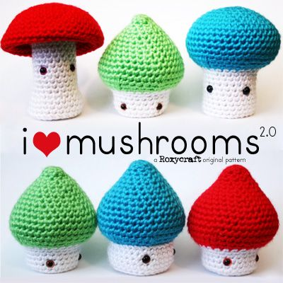 i <3 mushrooms 2.0 Crochet Amigurumi Pattern Information Page