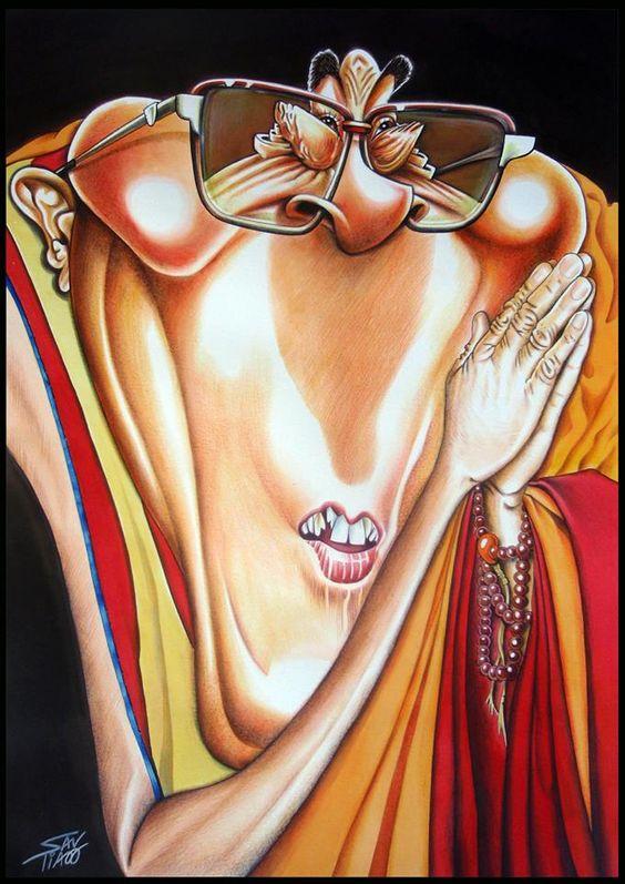 A minha caricatura do Dalai Lama selecionada para o catálogo do II Salão Internacional de Humor de Pernambuco-Brasil alusivo ao tema «Pensadores».