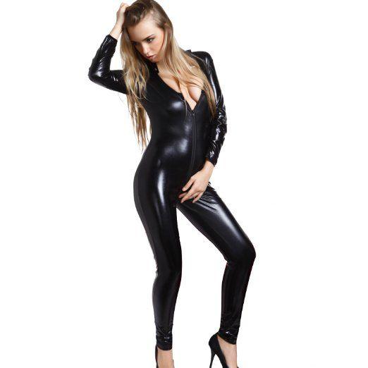 Black Wetlook PVC CATSUIT Bodysuit 2 ways Zip thro Crotch Catwoman Fancy Dress Costume XL 16 18
