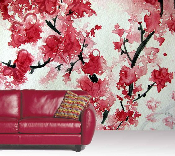 Cherry blossom aquarelle a wallpaper mural by muralunique for Cherry blossom mural on walls