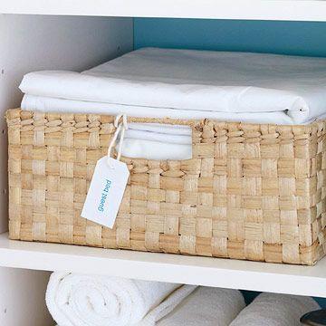 Baskets for individual sheet sets (or basket for each bed?)
