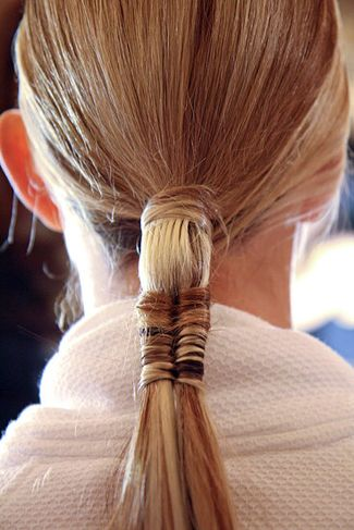 """How-to: The Fashion Week Ponytail You'll Be Dying to Wear      New York Fashion Week hasn't wrapped yet, but we've already found one style we're dying to try. The Marchesa sleek fishtail-ponytail hybrid. """"It's more interesting than a basic ponytail,"""" says lead stylist Renato Campora. """"It's new and fresh."""" Creating this look takes some time, but you can do it with a little practice and patience. Steal this style now.  Apply Frédéric Fekkai Coiff Strong Hold Volume Mousse throughout d..."""