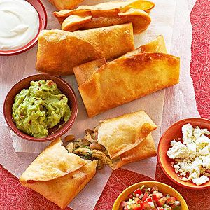 Roasted Chicken Chimichangas From Better Homes and Gardens, ideas and improvement projects for your home and garden plus recipes and entertaining ideas.