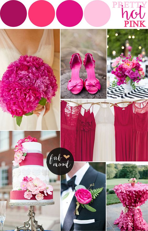 Hot pink wedding colour combos   fabmood.com - hot pink wedding color schemes