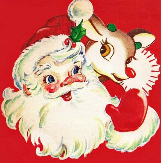 Vintage Santa Claus and Rudolph the red nose reindeer - Christmas - mid century modern