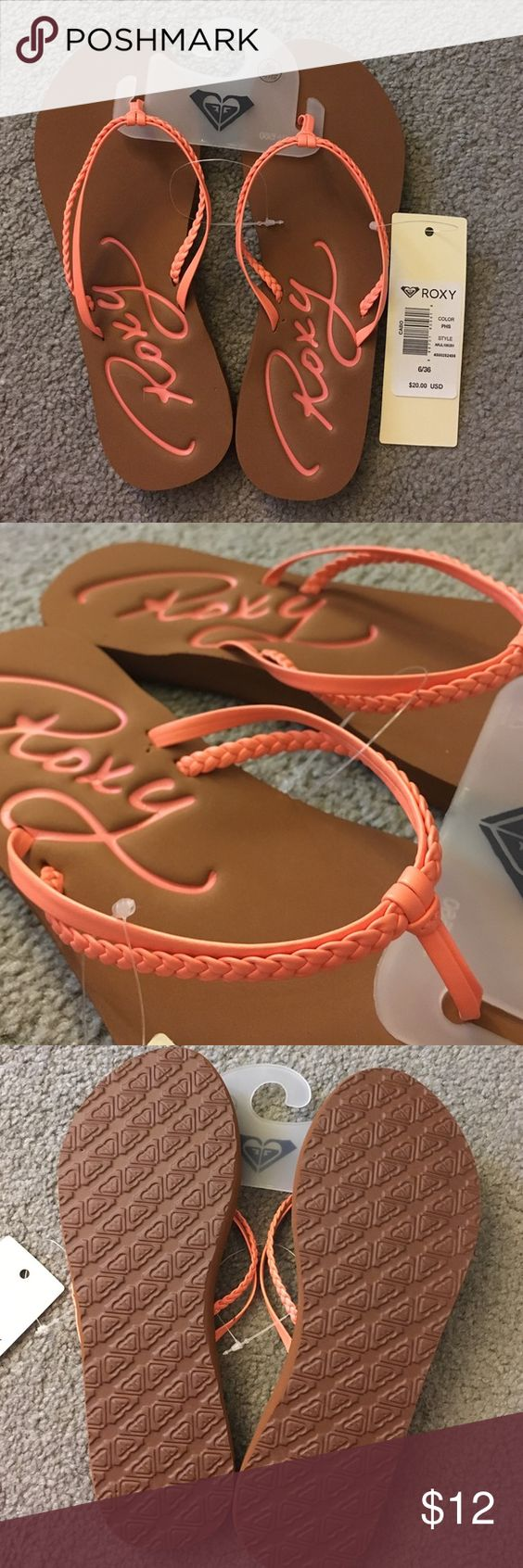 Roxy Flip flips Peach faux leather braided strap. Soft insole. Durable rubber outsole. New with tags 👍🏻 Roxy Shoes Slippers