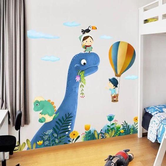 Dragon Honor Wall Decals 3D Dinosaur World for Childrens Room Living Room Vinyl Mural Wall Sticker Decoration Decor
