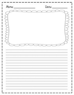 Blank writing paper with picture box