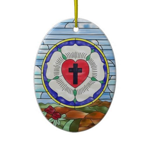 Luther seal stained glass window christmas tree ornament