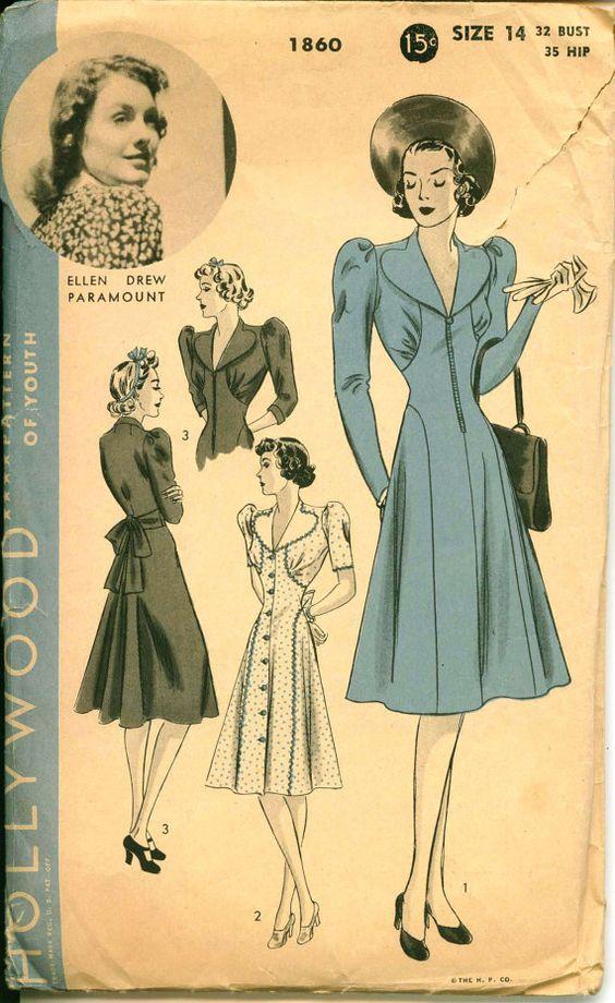 1940's Vintage Pattern   HOLLYWOOD 1860  Ellen by ShellMakeYouFlip