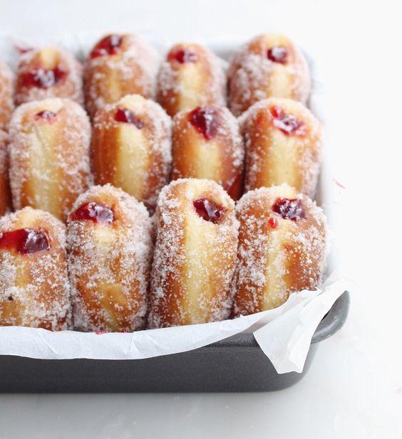 Homemade Raspberry Jam filled Vanilla Sugar Donuts | donuts ...