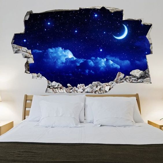 Sticker mural 3d ciel toil d co 39 s d i y pinterest - 3d vinyl wandtattoo ...
