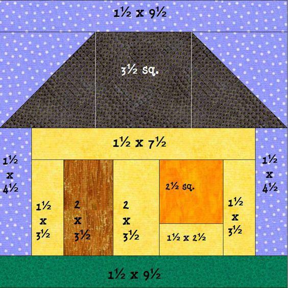 Bloque casa patchwork pinterest patrones telas y - Patrones casas patchwork ...