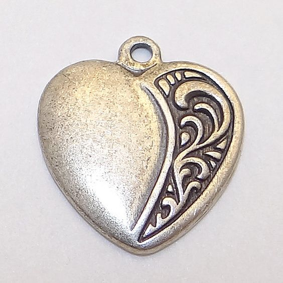 Vintage Sterling Silver Flat Backed Heart Charm by Betsysbijoux, $30.00