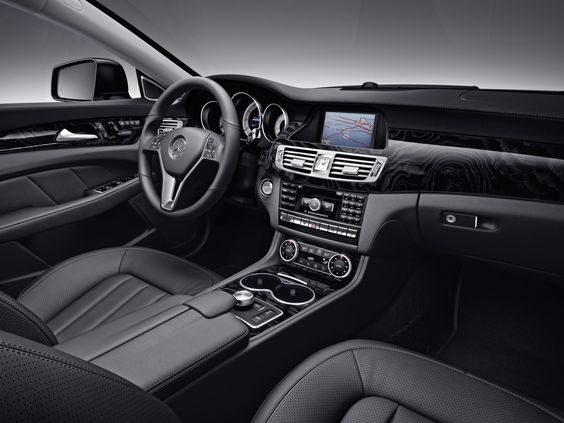 Mercedes-Benz CLS550 interior shown with Black leather and Black Ash ...