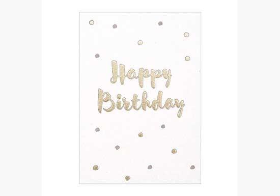 Carte Happy Birthday Avec Des Petits Pois Dores Et Rose Pale Dimensions Format Carte Postale 14 7 X 10 5 Cm Timi Of Swede Format Carte Postale Postale Et Cartes