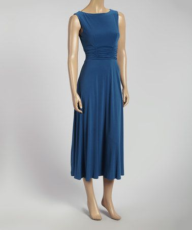 Look what I found on #zulily! Dark Teal Ruched Sleeveless Midi Dress by AA Studio #zulilyfinds