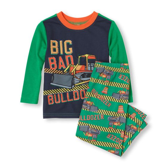 Baby Boy Bulldozer Pajamas Set Green Long Sleeves Size 18-24 Months NWT TCP #TheChildrensPlace #TwoPiece