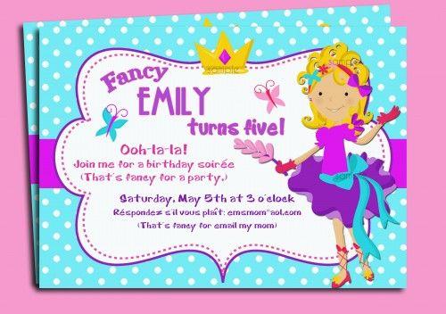 Girl Birthday Invitations Fancy Nancy And Girl Birthday