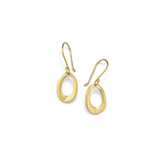 18K Gold Sculptural Metal Mini Open Oval Earrings