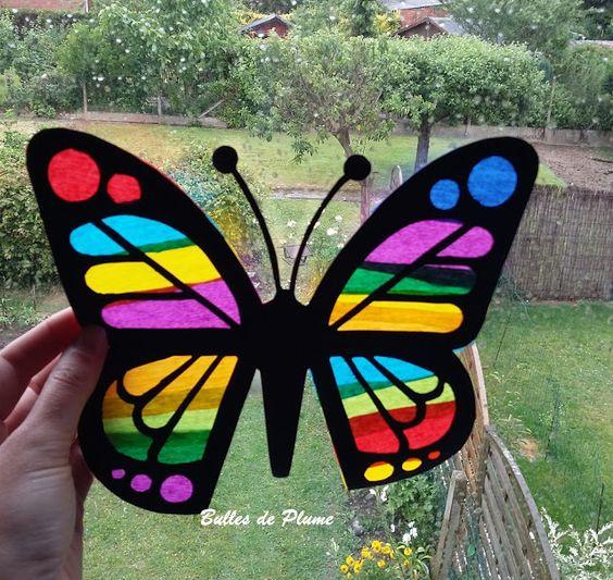 bulles de plume diy papillon attrape soleil bricolages avec du papier pinterest papillons. Black Bedroom Furniture Sets. Home Design Ideas