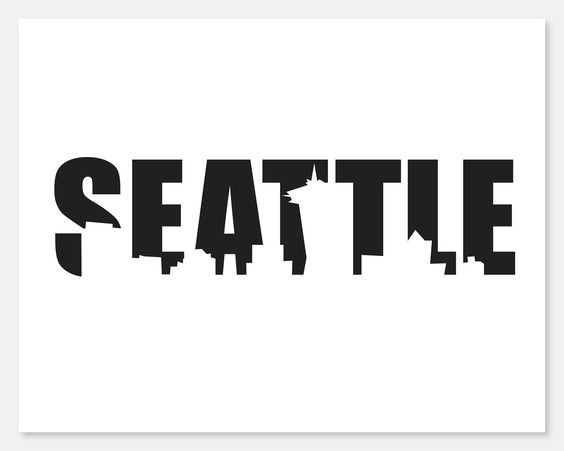 Seattle Skyline Cutout Print