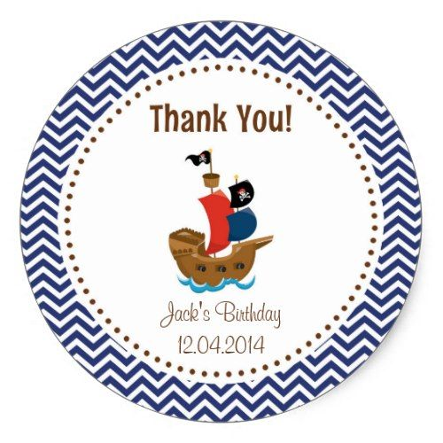 Pirate Birthday Party Favors Pirate Ship Birthday Thank You Sticker Blue