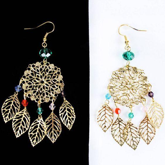 Multi Color Crystal Gold Plated Leaves Women Chandlier Dangle Earrings