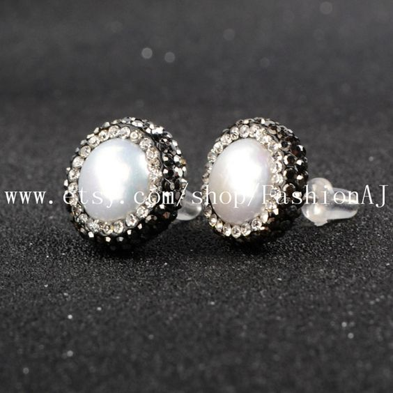 1 Pair High Fashion Round Natural Pearl Stud Earrings With Zircon Edge Handmade Pearl Post Earring Round Pearl Jewelry JAB046 by FashionAJ on Etsy