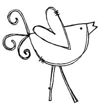 happy bird - so many line drawings make good embroidery patterns.