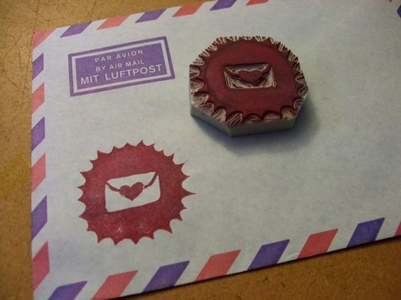 Envelope Seal Hand Carved Stamp from Live The Chaos on Etsy for $7