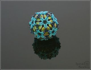 Spirala beading: Ripple Flower Beaded Bead: