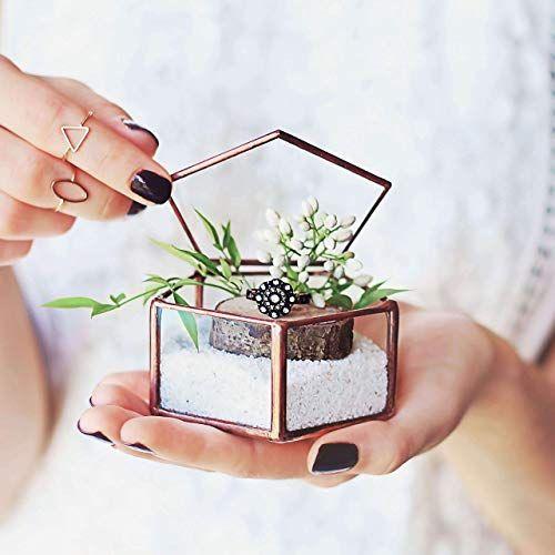 Clear Glass Geometric Engagement, Proposal & Wedding Ring Bearer Box