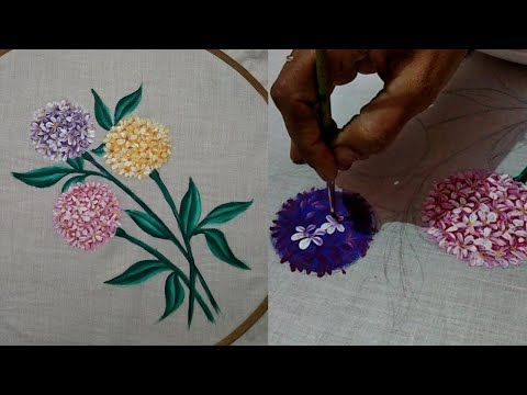 Fabric Painting On Clothes Hydrangea Flower Painting For Beginners Youtube In 2020 Fabric Painting On Clothes Fabric Paint Designs Fabric Painting Techniques