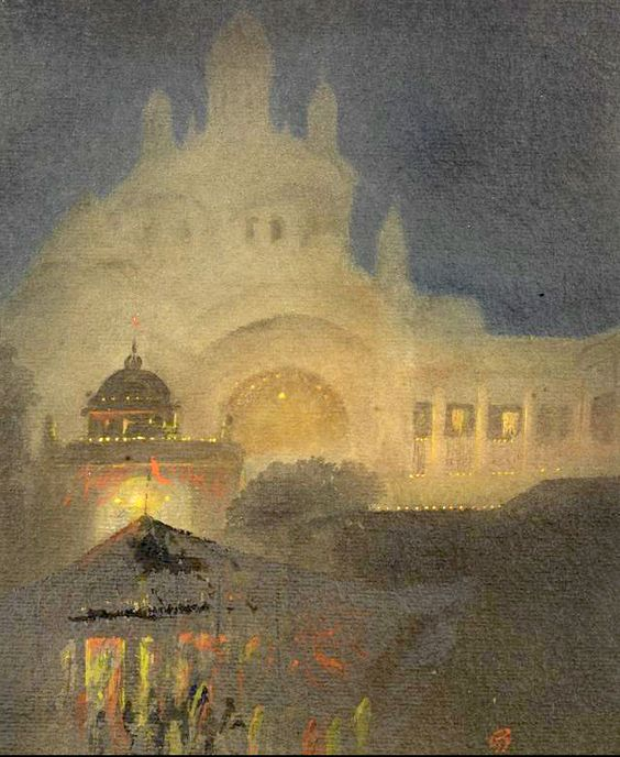 Gaganendranath Tagore (India, 1867-1938) The Illumination of the Shadow, watercolour and oil on card. The scene depicted is a feast taking place during the festival of Diwali and it is likely that the building depicted is the Kali Temple, at Dakshineswar near Calcutta. The presiding deity of the temple is Bhavatarini, an aspect of Kali, literally meaning, 'She who takes Her devotees across the ocean of existence'.