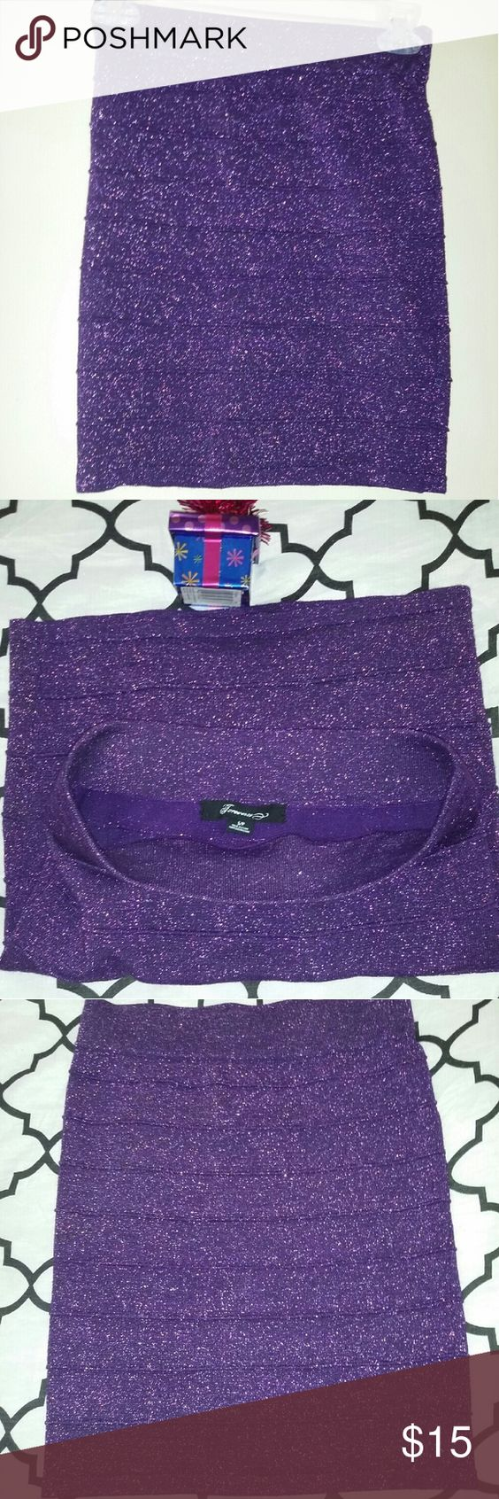 Violet skirt Forever 21 skirt. Great conditon.its a sparkly purple material. Forever 21 Skirts Mini