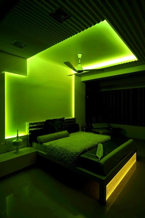 Works With Ios Android Personalize Your Lights To Match Your Mood Control It Remotely When You Are Not At Home D With Images Neon Bedroom Bedroom Green Bedroom Design