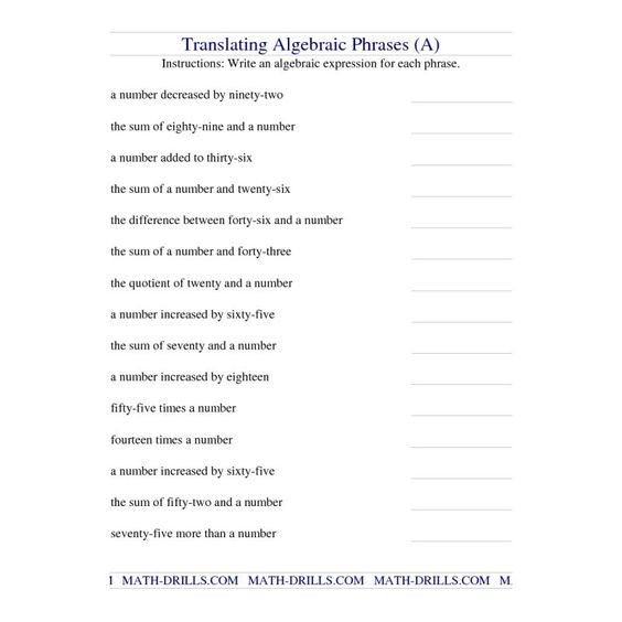 Algebra Worksheet Translating Algebraic Phrases A – Translating Algebraic Expressions Worksheets