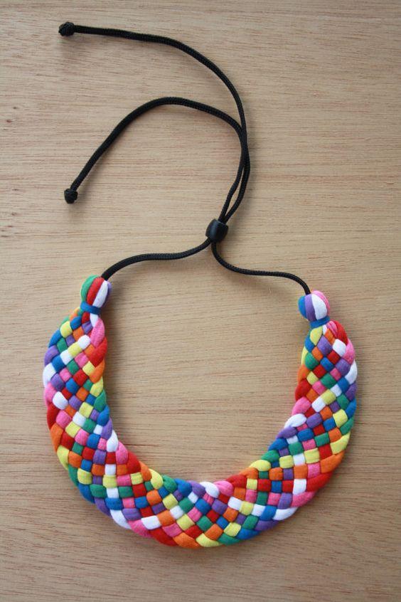 Items similar to Arco iris tejido se vuelva a encender para arriba declaración Collar collar on Etsy