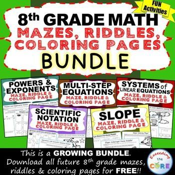 8th grade math mazes riddles coloring pages fun math activities activities maze and equation. Black Bedroom Furniture Sets. Home Design Ideas