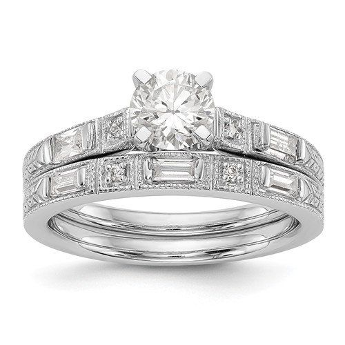 Wedding Ring Set Diamond Ring Baguette Wedding Moissanite Etsy Wedding Ring Sets Cz Rings Engagement Moissanite Wedding Set
