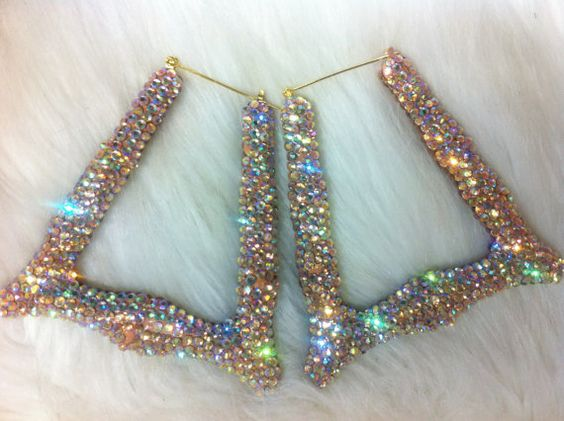 Bling Bamboo hoop earrings 4  Gem pastel color by Crystaljam, $30.00
